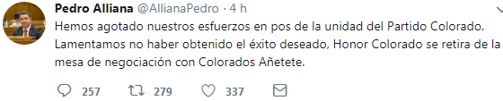 Honor Colorado rompe negociación con Añetete